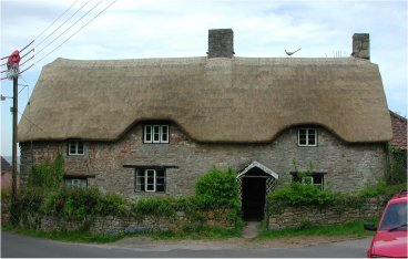 A cottage in Somerset with a splendid peacock on the roof