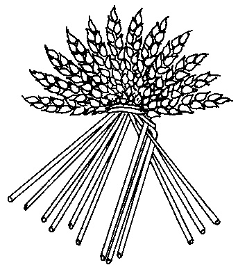 Drawing showing three straws on the right and nine on the left